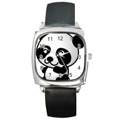 Adorable Panda Square Metal Watch