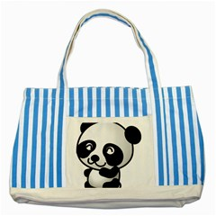 Adorable Panda Striped Blue Tote Bag