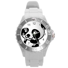 Adorable Panda Round Plastic Sport Watch (L)