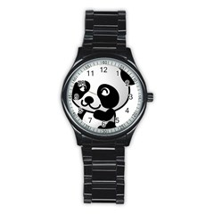 Adorable Panda Stainless Steel Round Watch