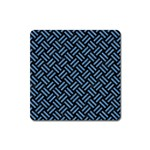 WOVEN2 BLACK MARBLE & BLUE COLORED PENCIL Magnet (Square) Front