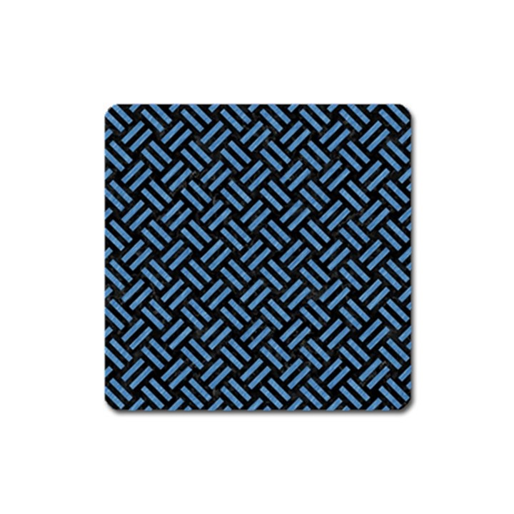 WOVEN2 BLACK MARBLE & BLUE COLORED PENCIL Magnet (Square)
