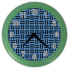 Woven1 Black Marble & Blue Colored Pencil (r) Color Wall Clock