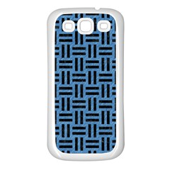 Woven1 Black Marble & Blue Colored Pencil (r) Samsung Galaxy S3 Back Case (white)