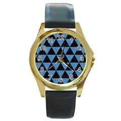 TRI3 BK-MRBL BL-PNCL Round Gold Metal Watch