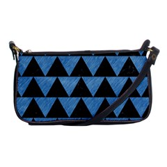 Triangle2 Black Marble & Blue Colored Pencil Shoulder Clutch Bag