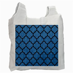 Tile1 Black Marble & Blue Colored Pencil (r) Recycle Bag (one Side)