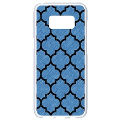Tile1 Black Marble & Blue Colored Pencil (r) Samsung Galaxy S8 White Seamless Case
