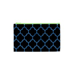 Tile1 Black Marble & Blue Colored Pencil Cosmetic Bag (xs)