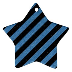 Stripes3 Black Marble & Blue Colored Pencil Star Ornament (two Sides)