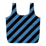 STRIPES3 BLACK MARBLE & BLUE COLORED PENCIL Full Print Recycle Bag (L) Front