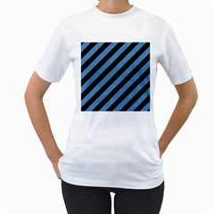 Stripes3 Black Marble & Blue Colored Pencil Women s T Shirt (white)