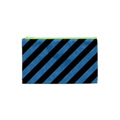 Stripes3 Black Marble & Blue Colored Pencil Cosmetic Bag (xs)
