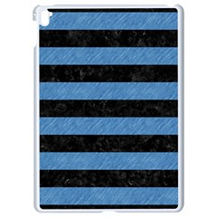Stripes2 Black Marble & Blue Colored Pencil Apple Ipad Pro 9 7   White Seamless Case