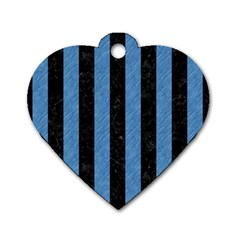Stripes1 Black Marble & Blue Colored Pencil Dog Tag Heart (one Side)