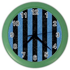 Stripes1 Black Marble & Blue Colored Pencil Color Wall Clock