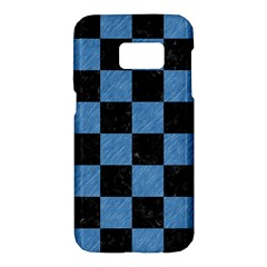 Square1 Black Marble & Blue Colored Pencil Samsung Galaxy S7 Hardshell Case