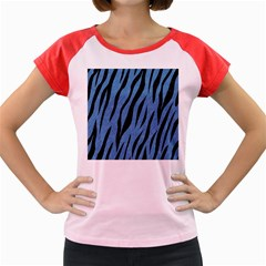 Skin3 Black Marble & Blue Colored Pencil (r) Women s Cap Sleeve T Shirt