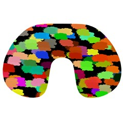 Colorful paint on a black background                 Travel Neck Pillow