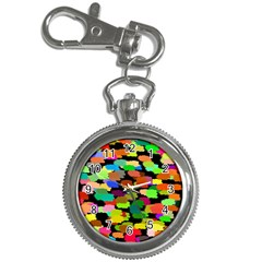 Colorful Paint On A Black Background                 Key Chain Watch