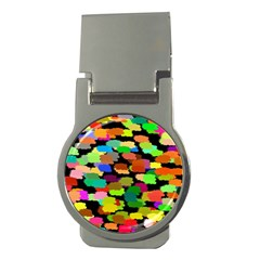 Colorful paint on a black background                 Money Clip (Round)