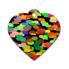 Colorful paint on a black background                 Dog Tag Heart (One Side)