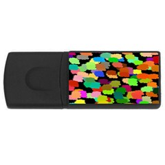 Colorful paint on a black background                 USB Flash Drive Rectangular (2 GB)