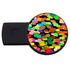 Colorful paint on a black background                 USB Flash Drive Round (4 GB)