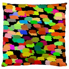 Colorful paint on a black background           Large Flano Cushion Case (Two Sides)