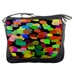 Colorful paint on a black background                 Messenger Bag