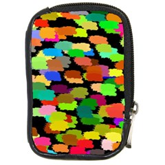 Colorful paint on a black background                 Compact Camera Leather Case