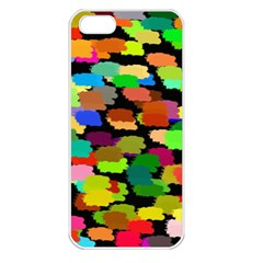 Colorful paint on a black background           Apple iPhone 5 Seamless Case (White)