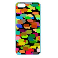 Colorful paint on a black background           Apple Seamless iPhone 5 Case (Clear)