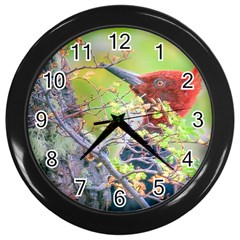 Woodpecker At Forest Pecking Tree, Patagonia, Argentina Wall Clocks (Black)