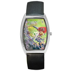 Woodpecker At Forest Pecking Tree, Patagonia, Argentina Barrel Style Metal Watch