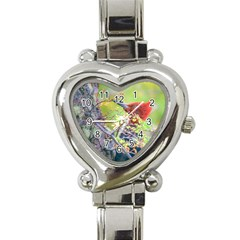 Woodpecker At Forest Pecking Tree, Patagonia, Argentina Heart Italian Charm Watch