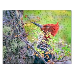 Woodpecker At Forest Pecking Tree, Patagonia, Argentina Rectangular Jigsaw Puzzl