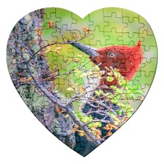 Woodpecker At Forest Pecking Tree, Patagonia, Argentina Jigsaw Puzzle (Heart)