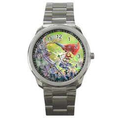 Woodpecker At Forest Pecking Tree, Patagonia, Argentina Sport Metal Watch