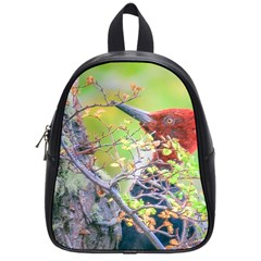 Woodpecker At Forest Pecking Tree, Patagonia, Argentina School Bags (Small)