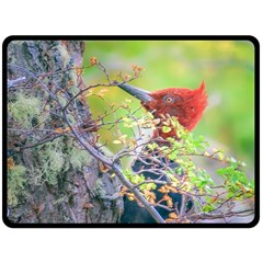 Woodpecker At Forest Pecking Tree, Patagonia, Argentina Fleece Blanket (Large)