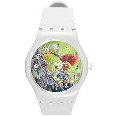 Woodpecker At Forest Pecking Tree, Patagonia, Argentina Round Plastic Sport Watch (M)