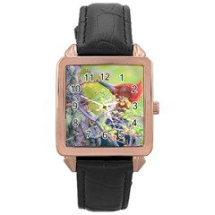 Woodpecker At Forest Pecking Tree, Patagonia, Argentina Rose Gold Leather Watch