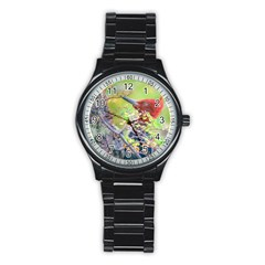 Woodpecker At Forest Pecking Tree, Patagonia, Argentina Stainless Steel Round Watch