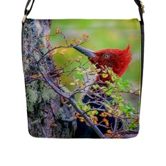 Woodpecker At Forest Pecking Tree, Patagonia, Argentina Flap Messenger Bag (L)