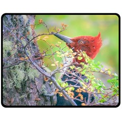 Woodpecker At Forest Pecking Tree, Patagonia, Argentina Double Sided Fleece Blanket (Medium)