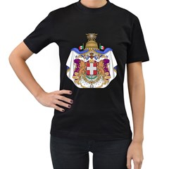 Greater Coat of Arms of Italy, 1870-1890  Women s T-Shirt (Black) (Two Sided)