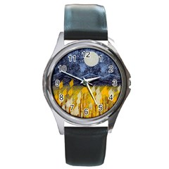 Blue and Gold Landscape with Moon Round Metal Watch