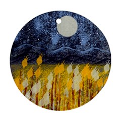 Blue and Gold Landscape with Moon Ornament (Round)