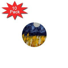 Blue and Gold Landscape with Moon 1  Mini Buttons (10 pack)